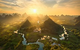 Preview wallpaper China, beautiful countryside landscape, mountains, top view, sunshine, morning