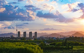 China, city, buildings, trees, clouds, dusk