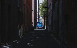 City, alley, car