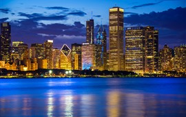 Preview wallpaper City at night, Chicago, Illinois, USA, skyscrapers, Lake Michigan, lights