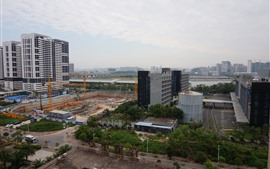 City, buildings, railroad, Shenzhen, China