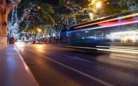 Preview wallpaper City night, road, holiday lights