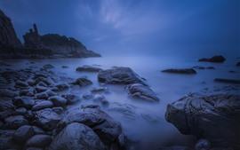 Побережье, море, скалы, сумерки
