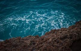 Costa, mar, olas, espuma, piedras.
