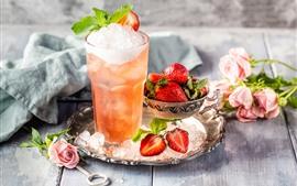 Cóctel, bebidas, flores, fresa.