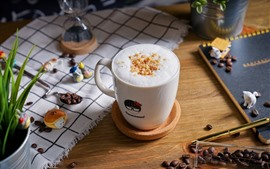 Preview wallpaper Coffee beans, cup, foam, drinks
