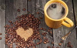 Preview wallpaper Coffee beans, love heart, cup, drinks