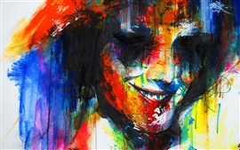 Colorful painting, face, smile