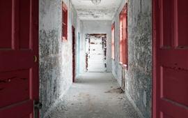 Коридор, двери, стена, пыль