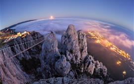 Crimeia, Gaspar, Yalta, cidade, vista de cima, alta, noite