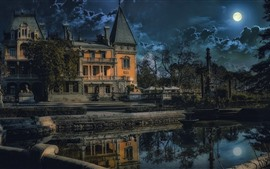 Crimea, Yalta, Massandra, castillo, estanque, árboles, nubes, noche, luna