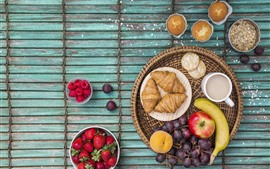 Preview wallpaper Croissants, cupcakes, apple, strawberry, grape, banana, coffee