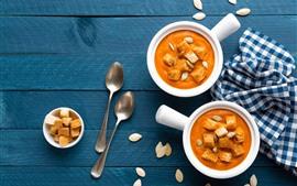 Preview wallpaper Croutons, pumpkin soup, food