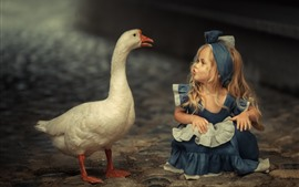 Preview wallpaper Cute blonde little girl and goose