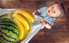 Preview wallpaper Cute little boy, watermelon and bananas
