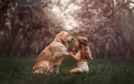 Preview wallpaper Cute little girl and dog, wreath, meadow