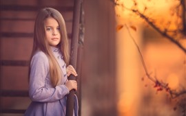 Preview wallpaper Cute little girl, brown hair, coat