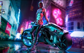 Preview wallpaper Cyberpunk 2077, city, girl, motorcycle
