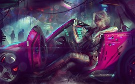 Preview wallpaper Cyberpunk 2077, girl, car, art picture