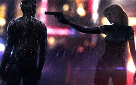 Preview wallpaper Cyberpunk 2077, girl, cyborg, gun, rain
