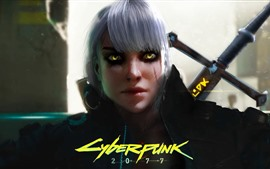 Preview wallpaper Cyberpunk 2077, girl, witch
