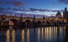Czech Republic, Prague, bridge, river, lights, night, city