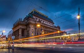壁紙のプレビュー チェコ共和国、プラハ、通り、スピード、ライトライン、都市、夜