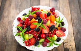 Preview wallpaper Delicious fruit, berries, strawberry, blackberry, raspberry, kiwi