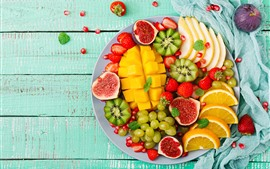 Preview wallpaper Delicious fruit, mango, kiwi, grapes, oranges, figs