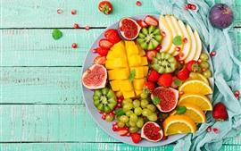 壁紙のプレビュー おいしい果物、マンゴー、キウイ、ブドウ、オレンジ、イチジク