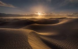 Preview wallpaper Desert, dune, wind, clouds, sunset