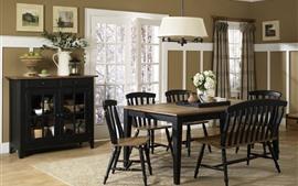 Sala de jantar, mesa, cadeiras, interior