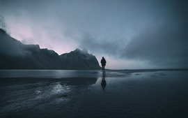 Preview wallpaper Dusk, sea, water, mountain, fog, girl