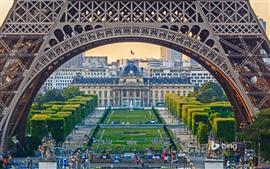 Эйфелева башня, арка, деревья, лужайка, Париж, Франция