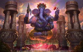 Preview wallpaper Elephant, lotus, art picture