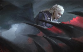 Preview wallpaper Emilia Clarke, Game of Thrones, dragon, art picture