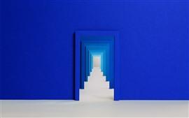 Entrada, pared azul, puerta.