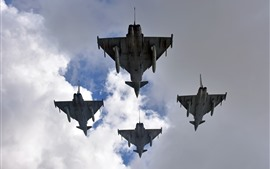 Eurofighter Typhoon, lutador, nuvens, céu