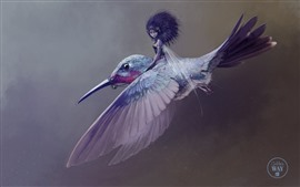 Preview wallpaper Fantasy girl and hummingbird, art picture