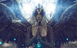 Девушка-фантазия, ангел, крылья, белые волосы
