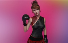 Preview wallpaper Fantasy girl, boxing, pink background