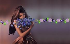 Fantasy girl, brown hair, flowers, butterfly