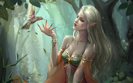 Preview wallpaper Fantasy girl, elf, green eyes, hummingbird, art picture
