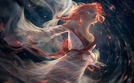 Preview wallpaper Fantasy girl, kimono, red hair, art picture