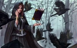 Preview wallpaper Fantasy girl, witch, book, crow