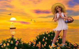 미리보기 배경 화면 판타지 어린 소녀, 금발, 꽃, 바다