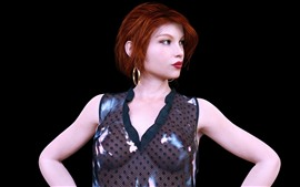 Preview wallpaper Fantasy red hair girl, black background