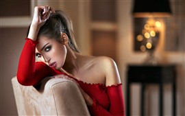 Preview wallpaper Fashion girl, red dress, room