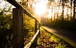 Fence, road, sunshine, hazy