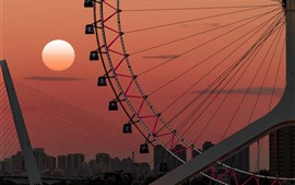 Ferris wheel, sunset, sun, city